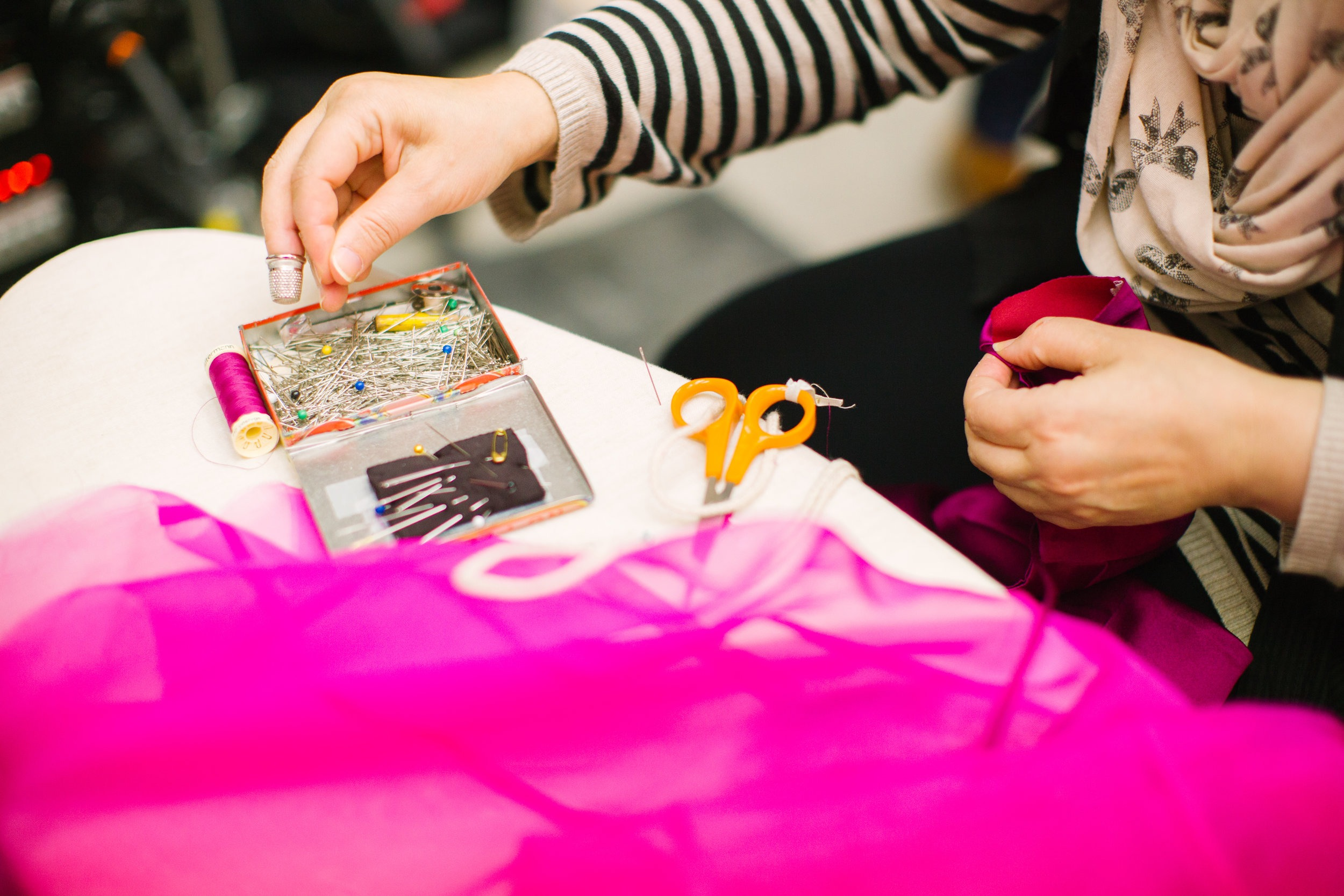 Lady Using a Sewing Machine